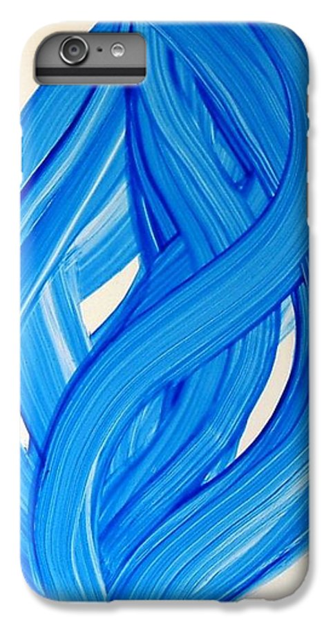 Abstract Modern Contemporary Yupo Art Painting Romantic Pop Blue IPhone 6 Plus Case featuring the painting Ribbons Of Love-blue by Manjiri Kanvinde