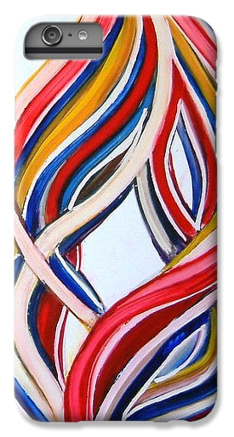 Abstract Modern Contemporary Pop Romantic Love Colourful Red Yellow Blue White IPhone 6 Plus Case featuring the painting Ribbons Of Love-multicolour by Manjiri Kanvinde