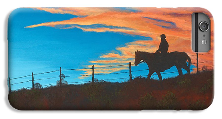Cowboy IPhone 6 Plus Case featuring the painting Riding Fence by Jerry McElroy