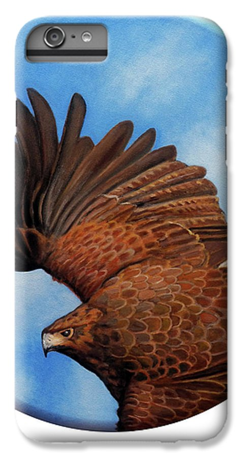 Hawk IPhone 6 Plus Case featuring the painting Riding The Wind by Brian Commerford