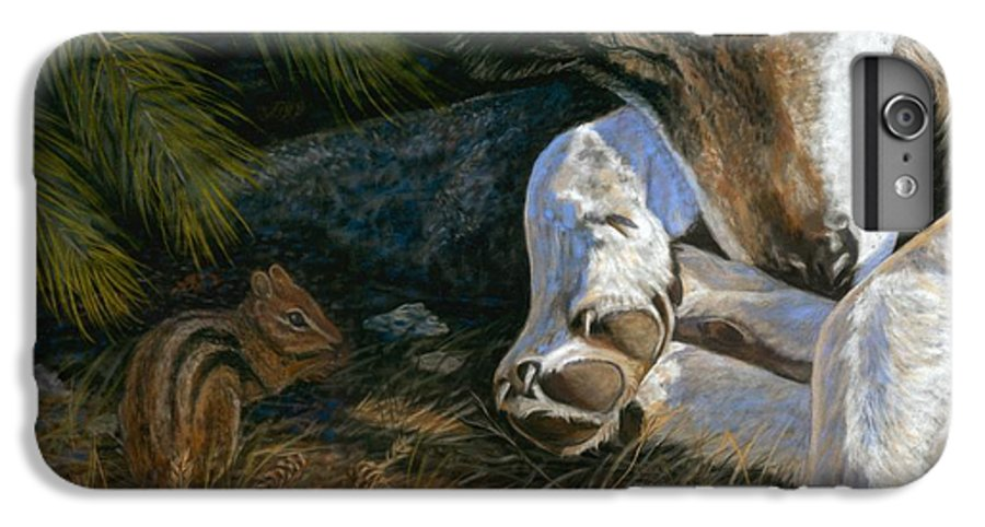 Wolf IPhone 6 Plus Case featuring the painting Risky Business by Sheri Gordon