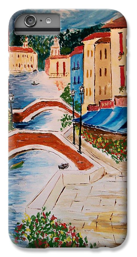 Canal IPhone 6 Plus Case featuring the painting Riverwalk by Leo Gordon