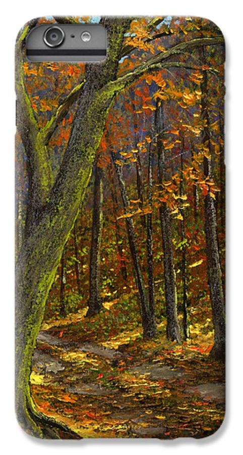 Landscape IPhone 6 Plus Case featuring the painting Road In The Woods by Frank Wilson