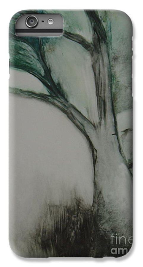 Monoprint Tree Rock Trees IPhone 6 Plus Case featuring the painting Rock Tree by Leila Atkinson
