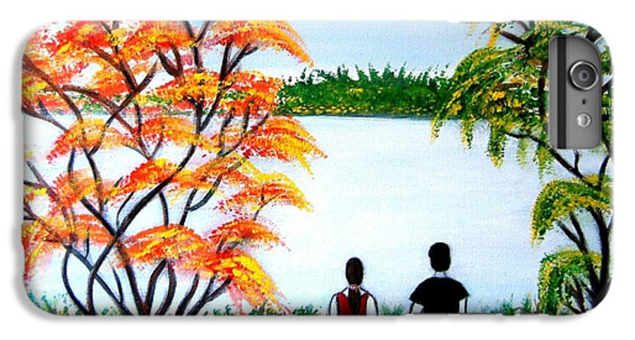 Romance Figures Autumn Orange Trees Green Pop Water Lake Love Valentine Yellow Lake Spring Bloom IPhone 6 Plus Case featuring the painting Romance In Autumn by Manjiri Kanvinde