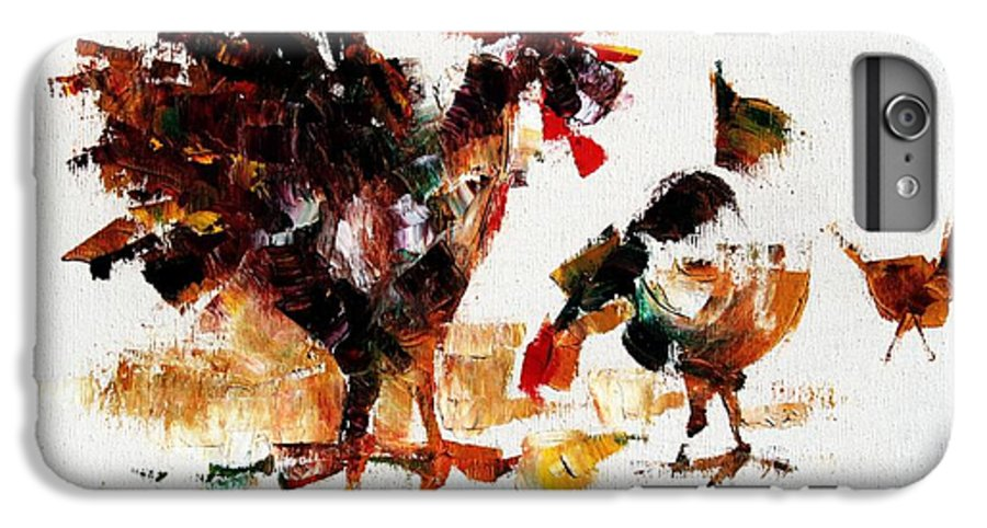 Rooster IPhone 6 Plus Case featuring the painting Rooster by Mario Zampedroni