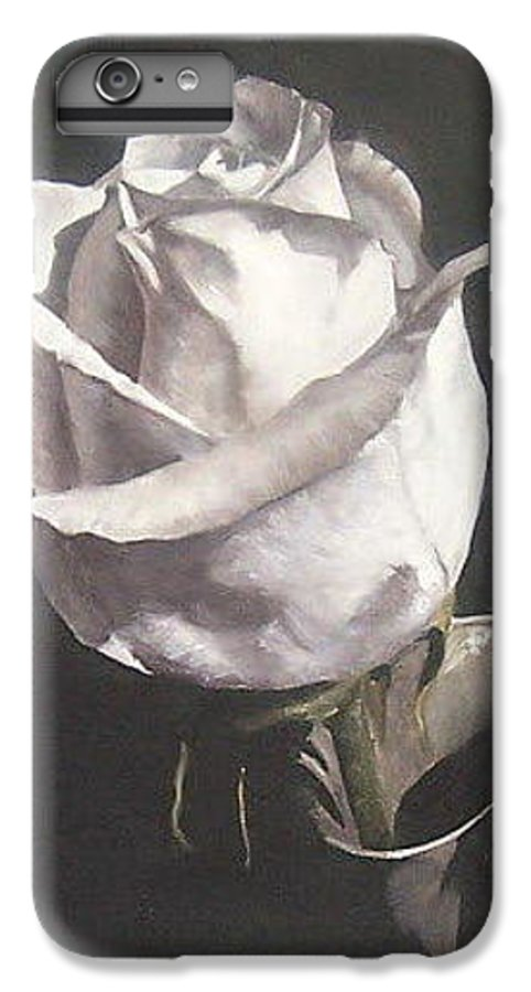 Rose Floral Nature White Flower IPhone 6 Plus Case featuring the painting Rose 2 by Natalia Tejera
