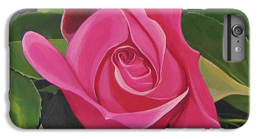 Pink Rose IPhone 6 Plus Case featuring the painting Rose Arcana by Hunter Jay