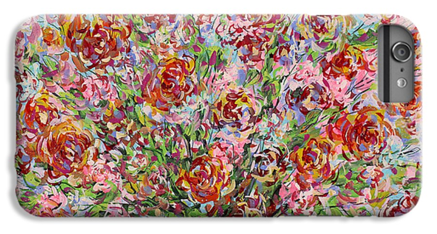 Flowers IPhone 6 Plus Case featuring the painting Rose Bouquet In Glass Vase by Leonard Holland