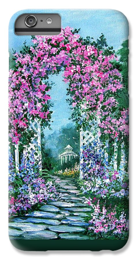 Roses;floral;garden;picket Fence;arch;trellis;garden Walk;flower Garden; IPhone 6 Plus Case featuring the painting Rose-covered Trellis by Lois Mountz