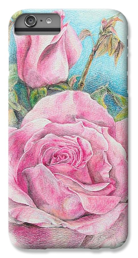 Flower IPhone 6 Plus Case featuring the painting Rose by Muriel Dolemieux