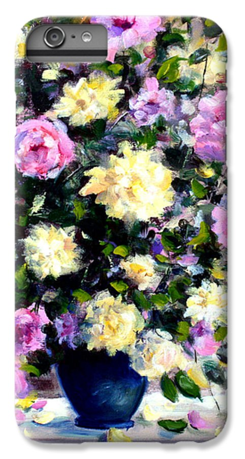 Roses IPhone 6 Plus Case featuring the painting Roses by Mario Zampedroni