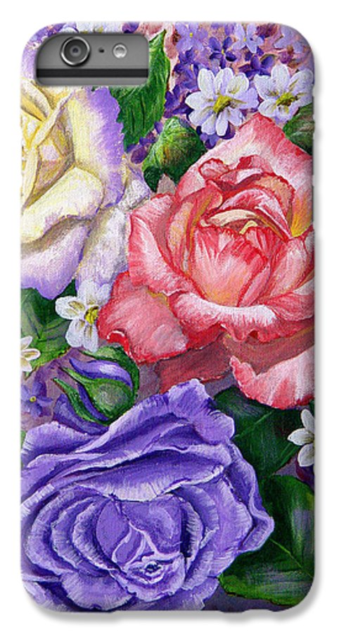 Rose IPhone 6 Plus Case featuring the painting Roses by Quwatha Valentine