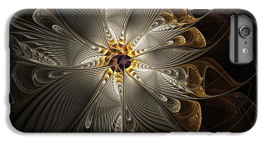 Digital Art IPhone 6 Plus Case featuring the digital art Rosette In Gold And Silver by Amanda Moore
