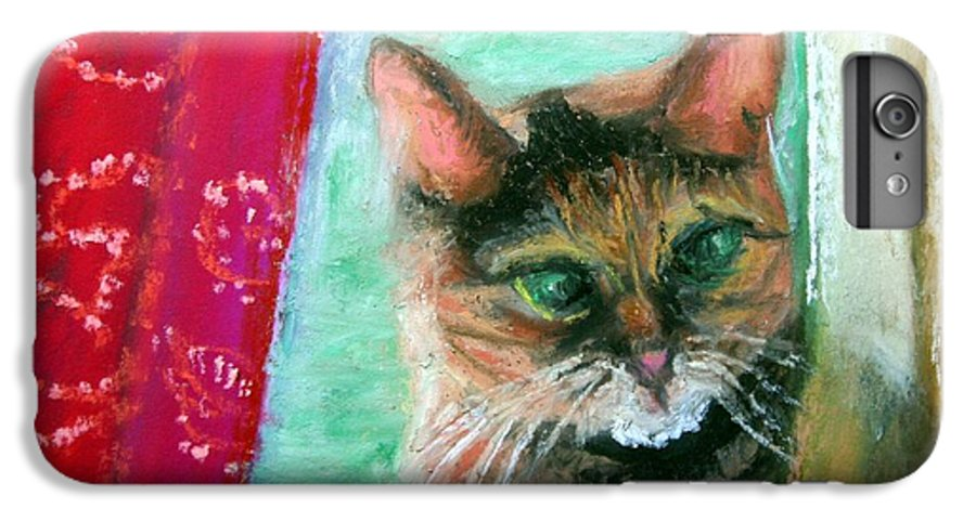 Cat IPhone 6 Plus Case featuring the painting Rosy In Color by Minaz Jantz