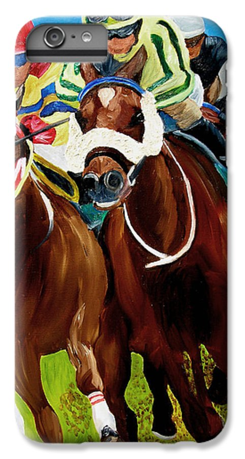 Horse Racing IPhone 6 Plus Case featuring the painting Rounding The Bend by Michael Lee