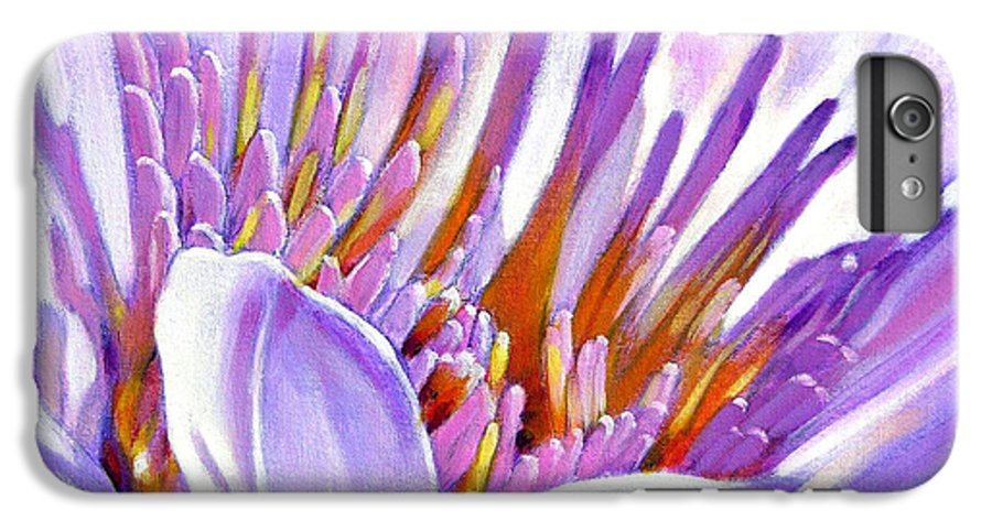 Water Lily IPhone 6 Plus Case featuring the painting Royal Purple And Gold by John Lautermilch