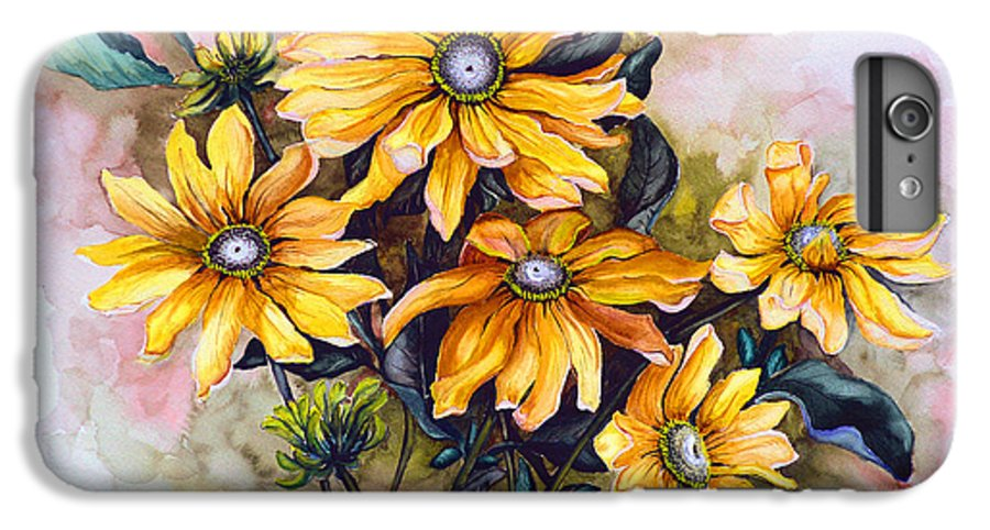 Flower Painting Sun Flower Painting Flower Botanical Painting  Original Watercolor Painting Rudebeckia Painting Floral Painting Yellow Painting Greeting Card Painting IPhone 6 Plus Case featuring the painting Rudbeckia Prairie Sun by Karin Dawn Kelshall- Best