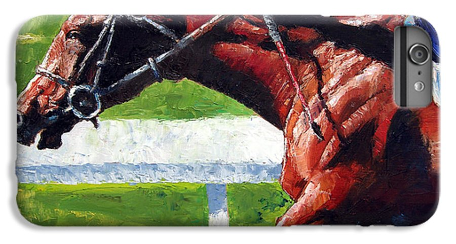 Horse Race IPhone 6 Plus Case featuring the painting Running Towards The Light by John Lautermilch