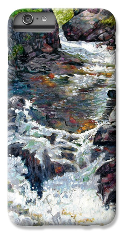 A Fast Moving Stream In Colorado Rocky Mountains IPhone 6 Plus Case featuring the painting Rushing Waters by John Lautermilch