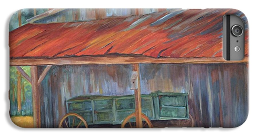 Old Wagons IPhone 6 Plus Case featuring the painting Rustification by Ginger Concepcion