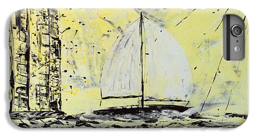 Abstract IPhone 6 Plus Case featuring the painting Sail And Sunrays by J R Seymour