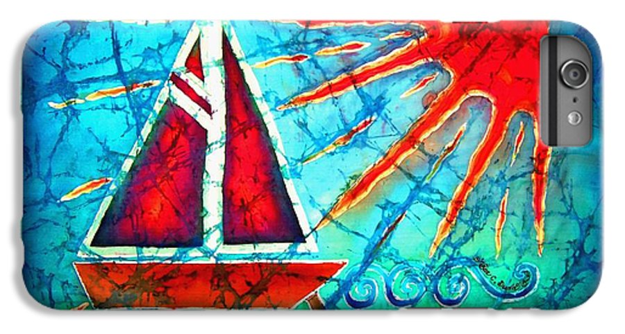 Sailboat IPhone 6 Plus Case featuring the painting Sailboat In The Sun by Sue Duda