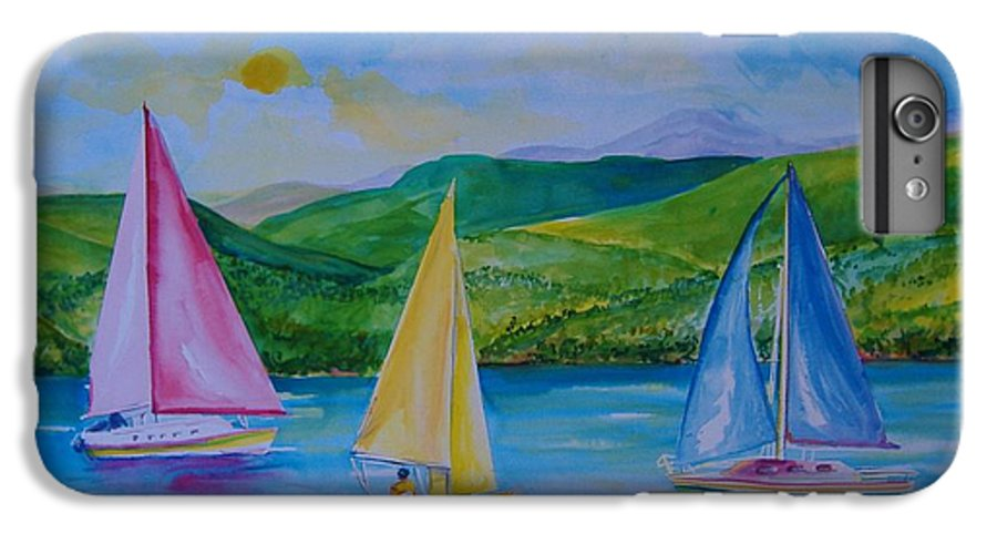 Sailboats IPhone 6 Plus Case featuring the painting Sailboats by Laura Rispoli