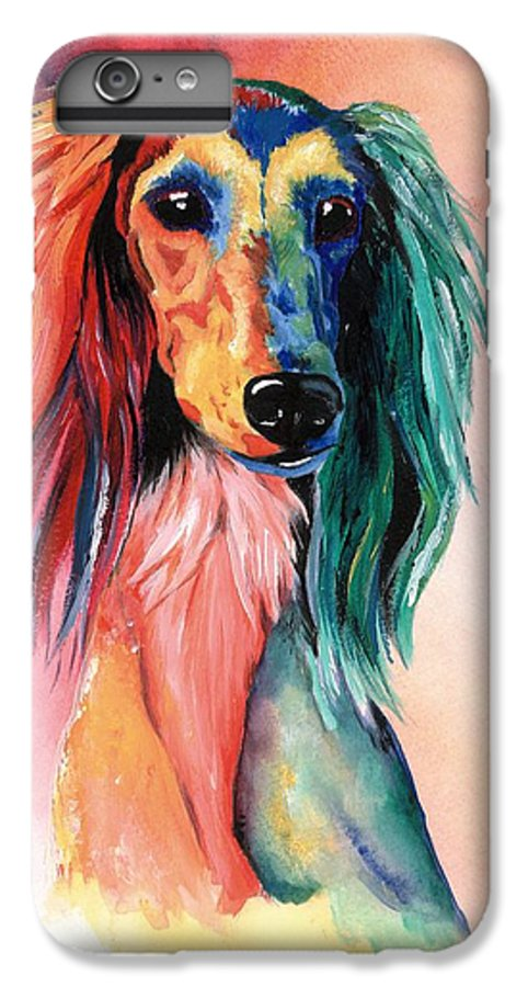 Saluki IPhone 6 Plus Case featuring the painting Saluki Sunset by Kathleen Sepulveda