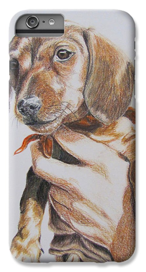 Puppy IPhone 6 Plus Case featuring the drawing Sambo by Karen Ilari