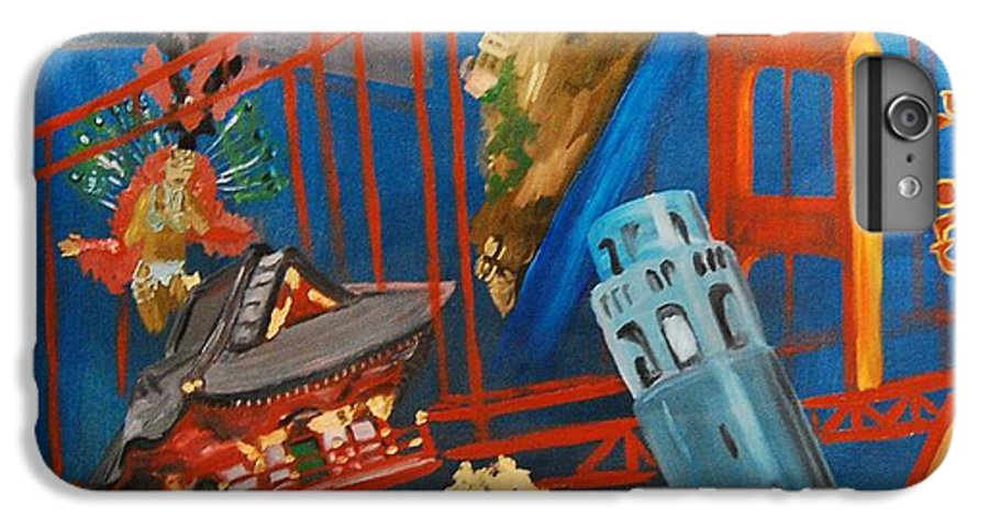 Golden Gate Bridge IPhone 6 Plus Case featuring the painting San Fran by Lauren Luna