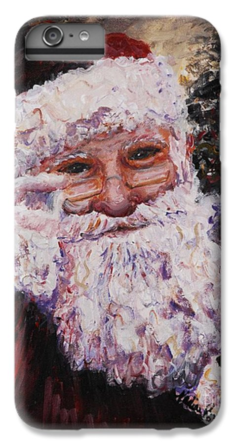 Santa IPhone 6 Plus Case featuring the painting Santa Chat by Nadine Rippelmeyer