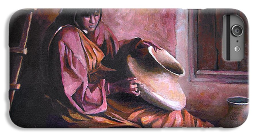 Native American IPhone 6 Plus Case featuring the painting Santa Clara Potter by Nancy Griswold