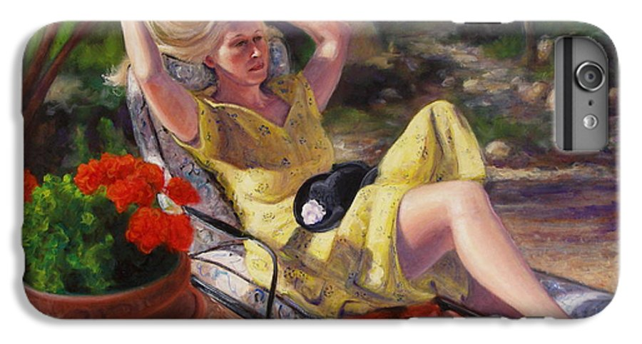 Realism IPhone 6 Plus Case featuring the painting Santa Fe Garden 4 by Donelli DiMaria