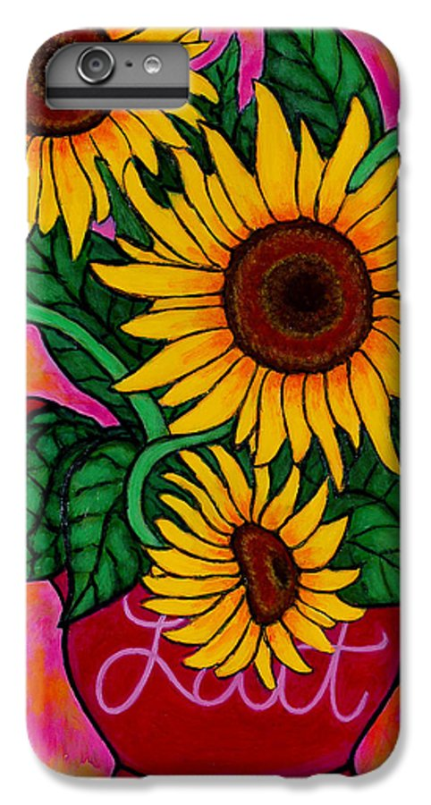 Sunflowers IPhone 6 Plus Case featuring the painting Saturday Morning Sunflowers by Lisa Lorenz