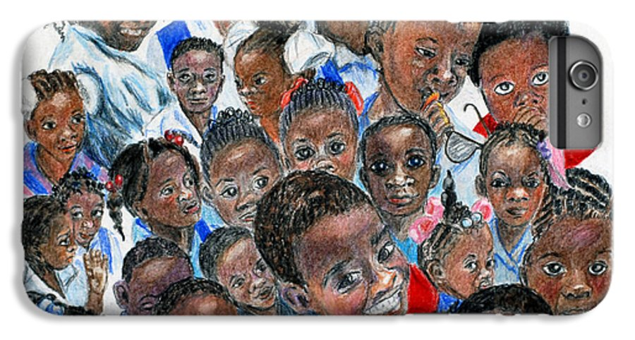 Children IPhone 6 Plus Case featuring the painting Save The Children by Quwatha Valentine