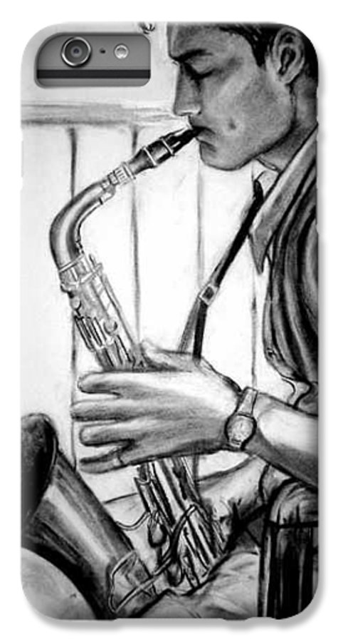 Handsome Man IPhone 6 Plus Case featuring the drawing Saxophone Player by Laura Rispoli