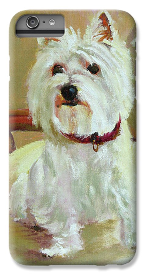 Pet IPhone 6 Plus Case featuring the painting Schatzie by Keith Burgess