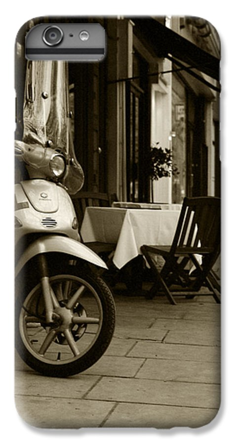 Scooter IPhone 6 Plus Case featuring the photograph Scooter Cafe by Ayesha Lakes