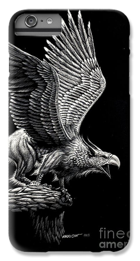 Griffon IPhone 6 Plus Case featuring the drawing Screaming Griffon by Stanley Morrison