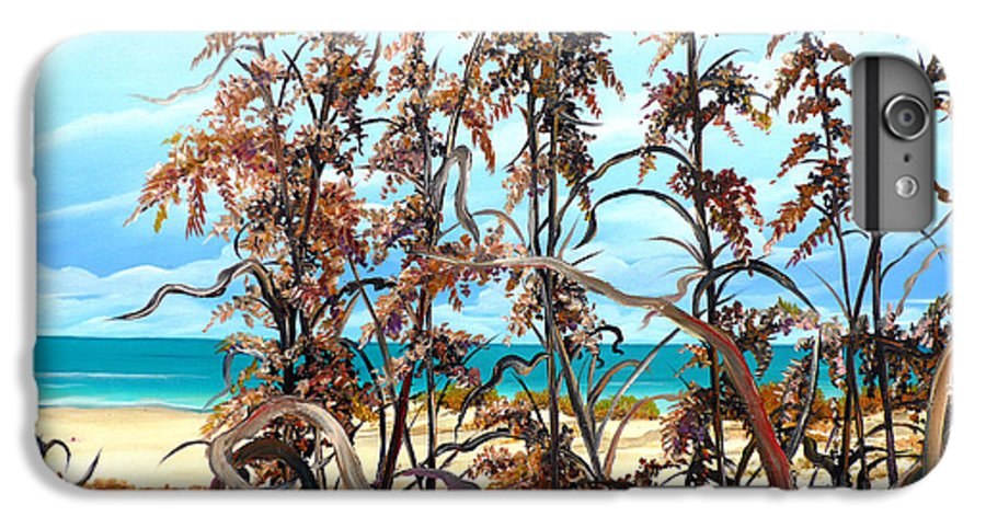 Ocean Painting Sea Oats Painting Beach Painting Seascape Painting Beach Painting Florida Painting Greeting Card Painting IPhone 6 Plus Case featuring the painting Sea Oats by Karin Dawn Kelshall- Best