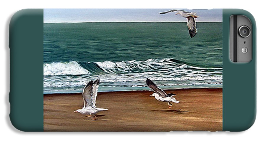 Seascape IPhone 6 Plus Case featuring the painting Seagulls 2 by Natalia Tejera