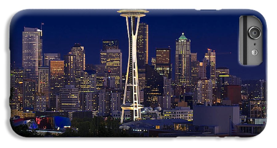 Seattle IPhone 6 Plus Case featuring the photograph Seattle At Night by Larry Keahey