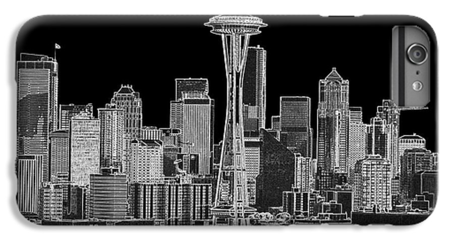 Black And White IPhone 6 Plus Case featuring the photograph Seattle Black And White by Larry Keahey