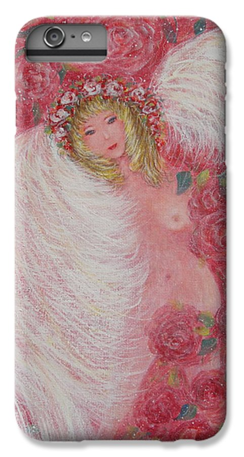 Angel IPhone 6 Plus Case featuring the painting Secret Garden Angel 6 by Natalie Holland
