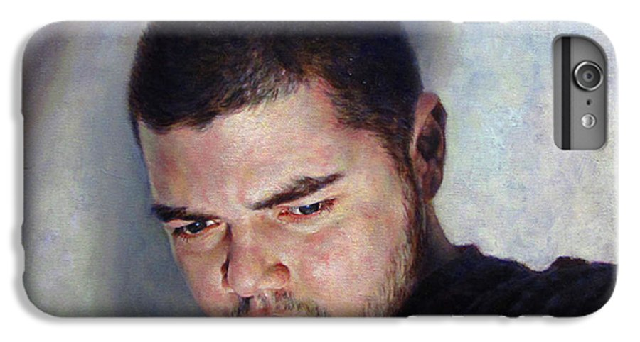 Self IPhone 6 Plus Case featuring the painting Self Portrait W Shadows by Joe Velez