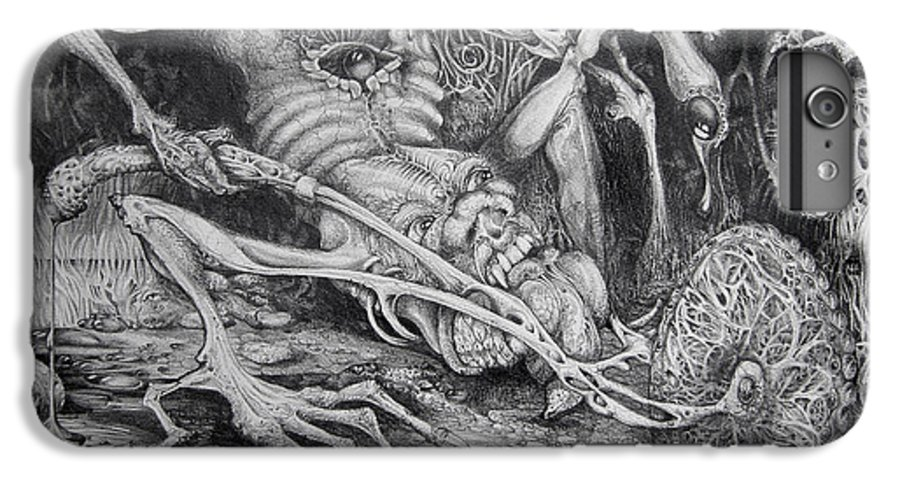 Surrealism IPhone 6 Plus Case featuring the drawing Selfpropelled Beastie Seeder by Otto Rapp