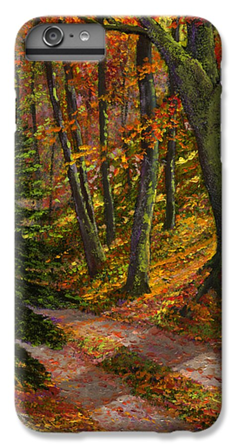 Road In The Woods IPhone 6 Plus Case featuring the painting September Road by Frank Wilson