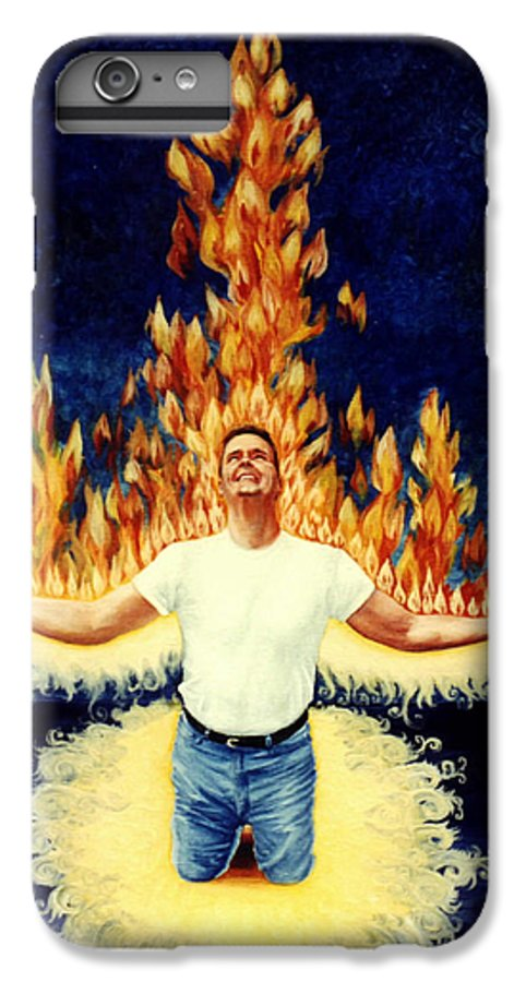 Holy Spirit Fire IPhone 6 Plus Case featuring the painting Set Aflame by Teresa Carter