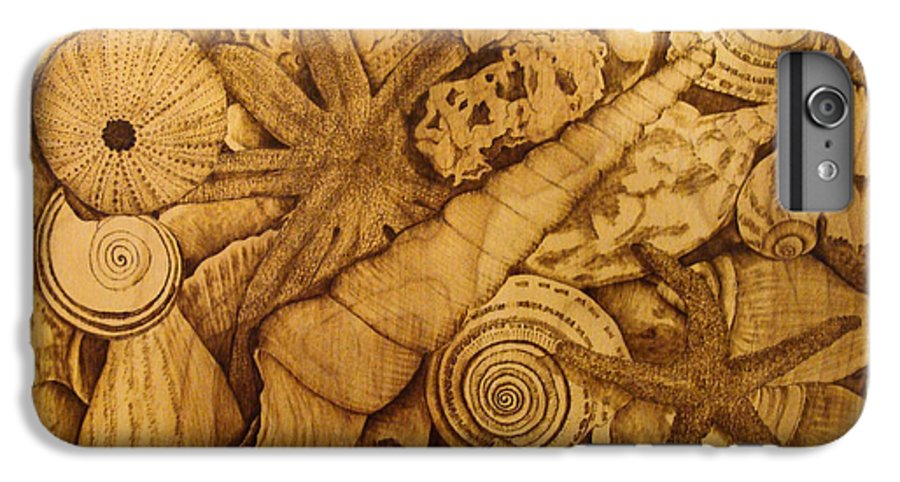 Pyrography; Sepia; Shells; Sea Shells; Starfish; Ocean; Sea; Underwater; Sea Life; IPhone 6 Plus Case featuring the pyrography Settled by Jo Schwartz